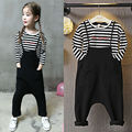 Kids Children Baby Boy Girl Clothing Set Cotton Long Sleeve Striped T-shirt+Bib Harem Pants Trousers 2PCS Outfits