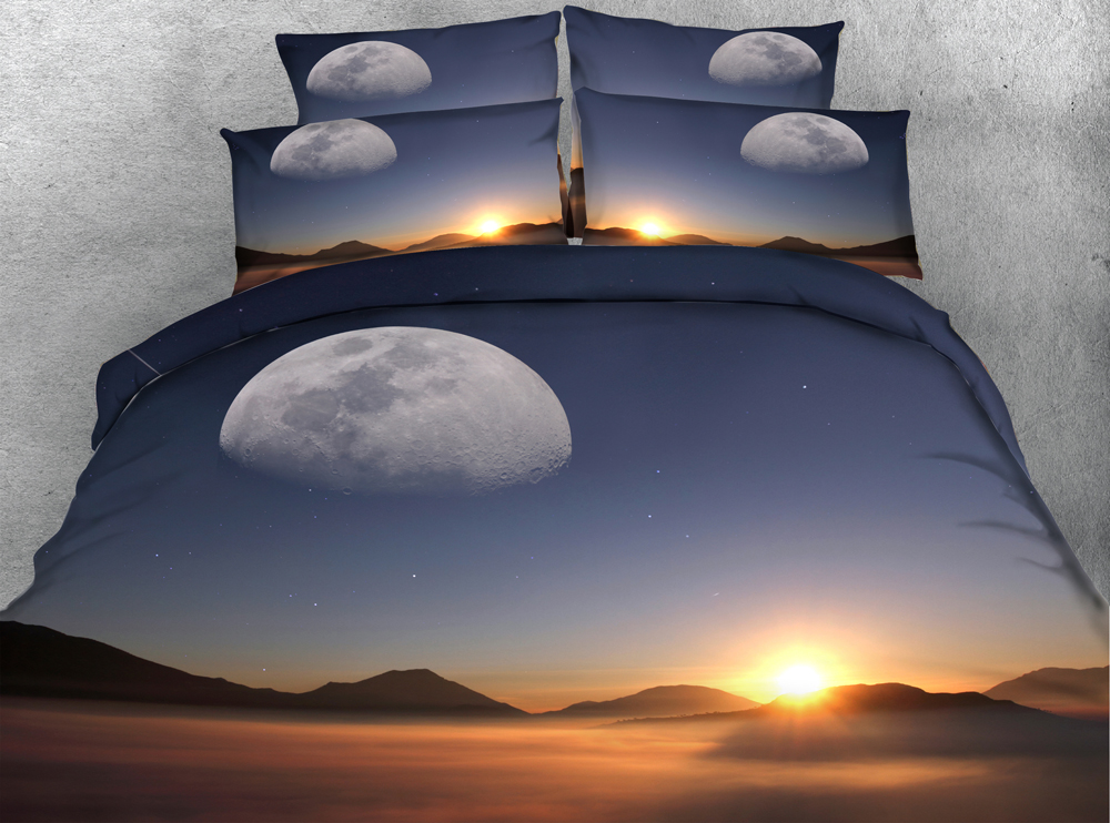 Jf 114 Sunset Bedding Set 3d Moon Sun Mountain Print Duvet