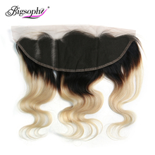Bigsophy Brazilian Hair Ear To Lace Frontal Closure Body Wave 13*4 Ombre Blonde 1B 613 Color Remy Human