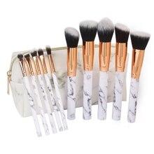 10Pcs Makeup Brushes Set Marble Professional Foundation Powder Make Up Tool PU Bag Pincel Maquiagem Beauty