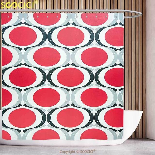 Fun Shower Curtain Modern Pattern With Red Dots And Black Swatch White  Background Geometric Illustration Red
