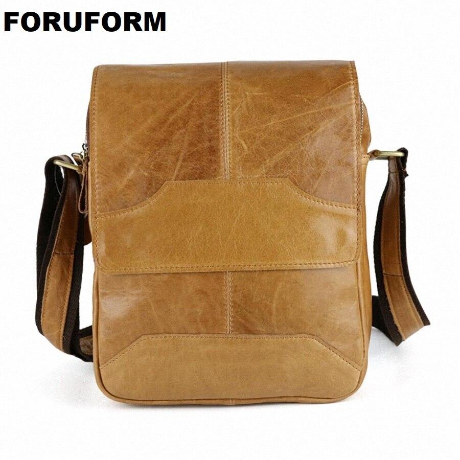100% Genuine Leather Male Bags Vintage Men Messenger Bags Casual Men's Cross Body Shoulder Bag Men's Travel Bag bolsa LI-1421