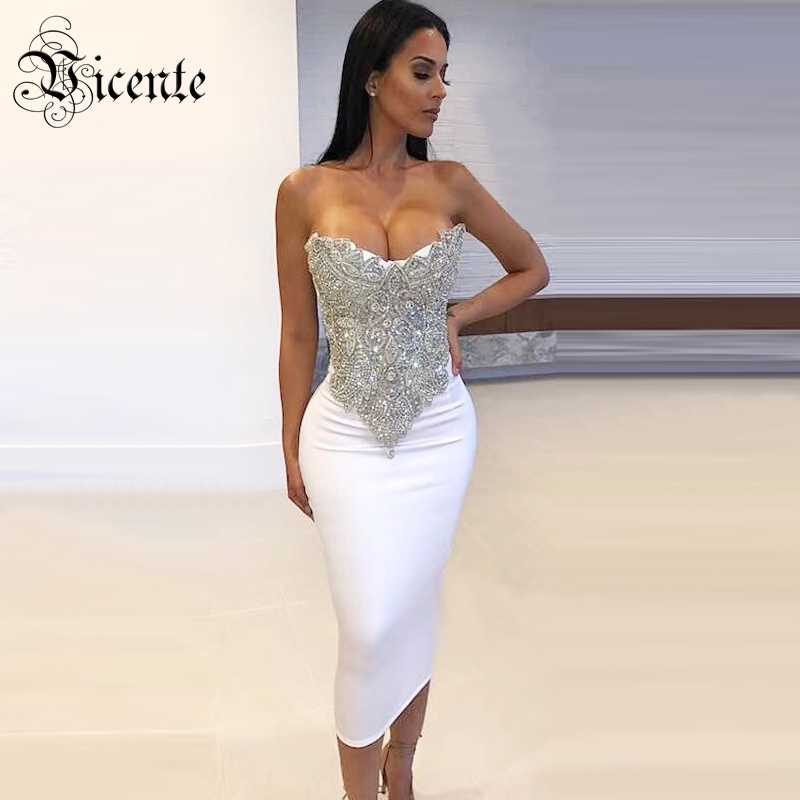 ca20e9b9 Vicente HOT Fashion Luxe Beads Midi Dress Sexy Strapless Sleeveless  Wholesale Celebrity Party Club Wear Bandage