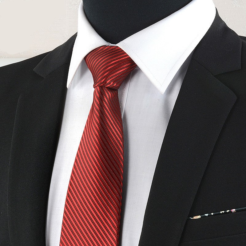 New Men Business Black Tie Professional Wedding Men British Neckties Red Striped Fashion Designer Formal Dress Men Gift