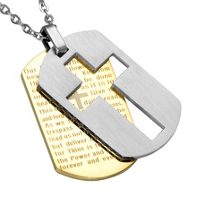 Cross Necklaces Pendants Christian Jewelry Bible Lords Prayer Dog Tags Gold Color Stainless Steel Christmas Gift For Men