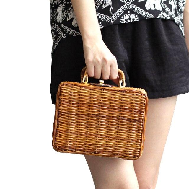cf102e81f5 2018 Korean version of bamboo and rattan suitcase garden boxes fashion  handbags hand-made straw woven bag