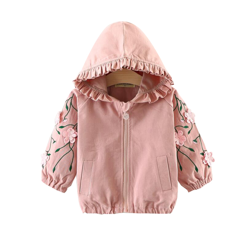 2018 New Girl Spring Autumn Clothes Fashion embroidery flower Zipper Hooded Cardigan Cotton Windbreaker Loose Kids Casual Jacket