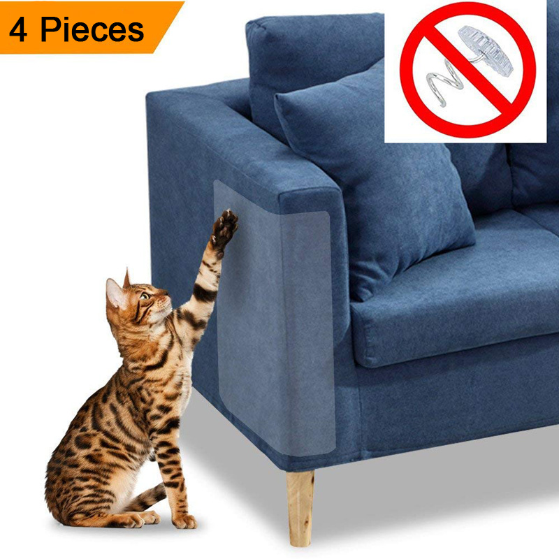 4pcs Cat Scratch Couch Guard Claw Protector Self-adhesie Protect Pad Cat Scratching Furniture For Leather Chair Recliner Protect