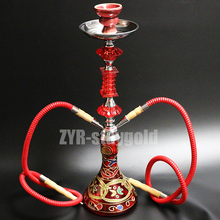 Color options narguile hookah set complete chicha 2 hoses glass nargile with ceramic bowl 52.8cm shisha smoking water pipe
