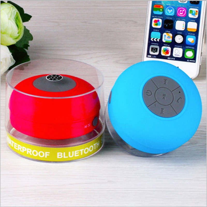 BTS-06 Waterproof Shower Bluetooth Speaker Wireless Mini USB Charger Rose Red