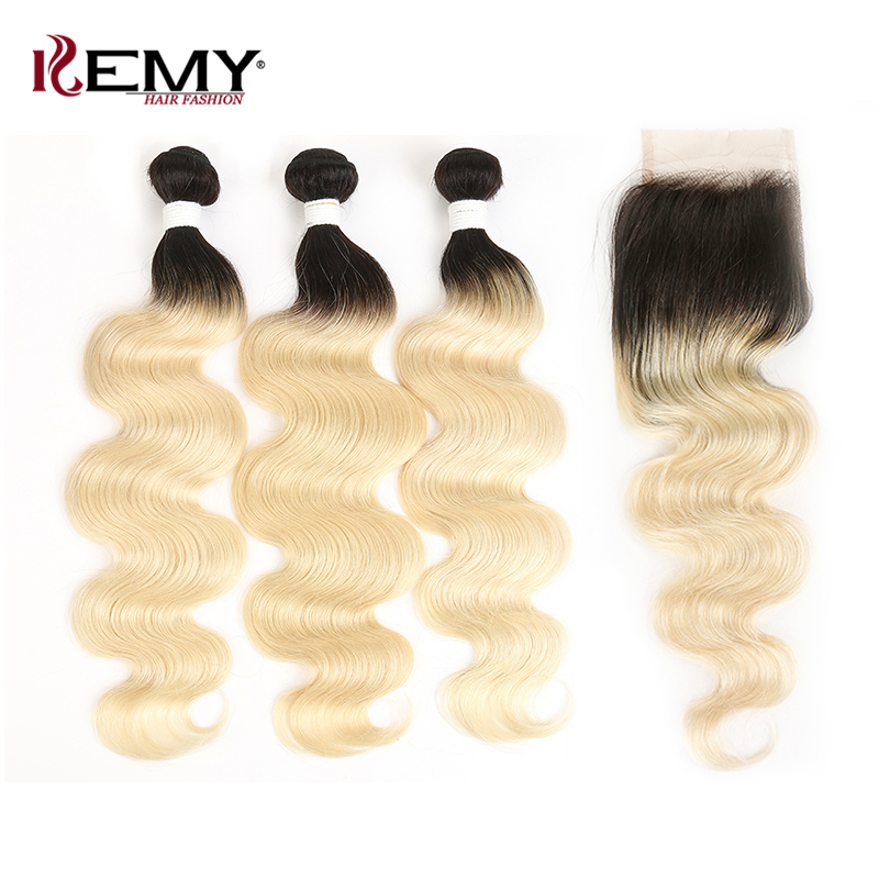 Ombre Blonde Bundles With Closure 4*4 Kemy Hair Brazilian Body Wave Human Hair Weaving Non Remy Hair Weave Bundles 3 Pcs