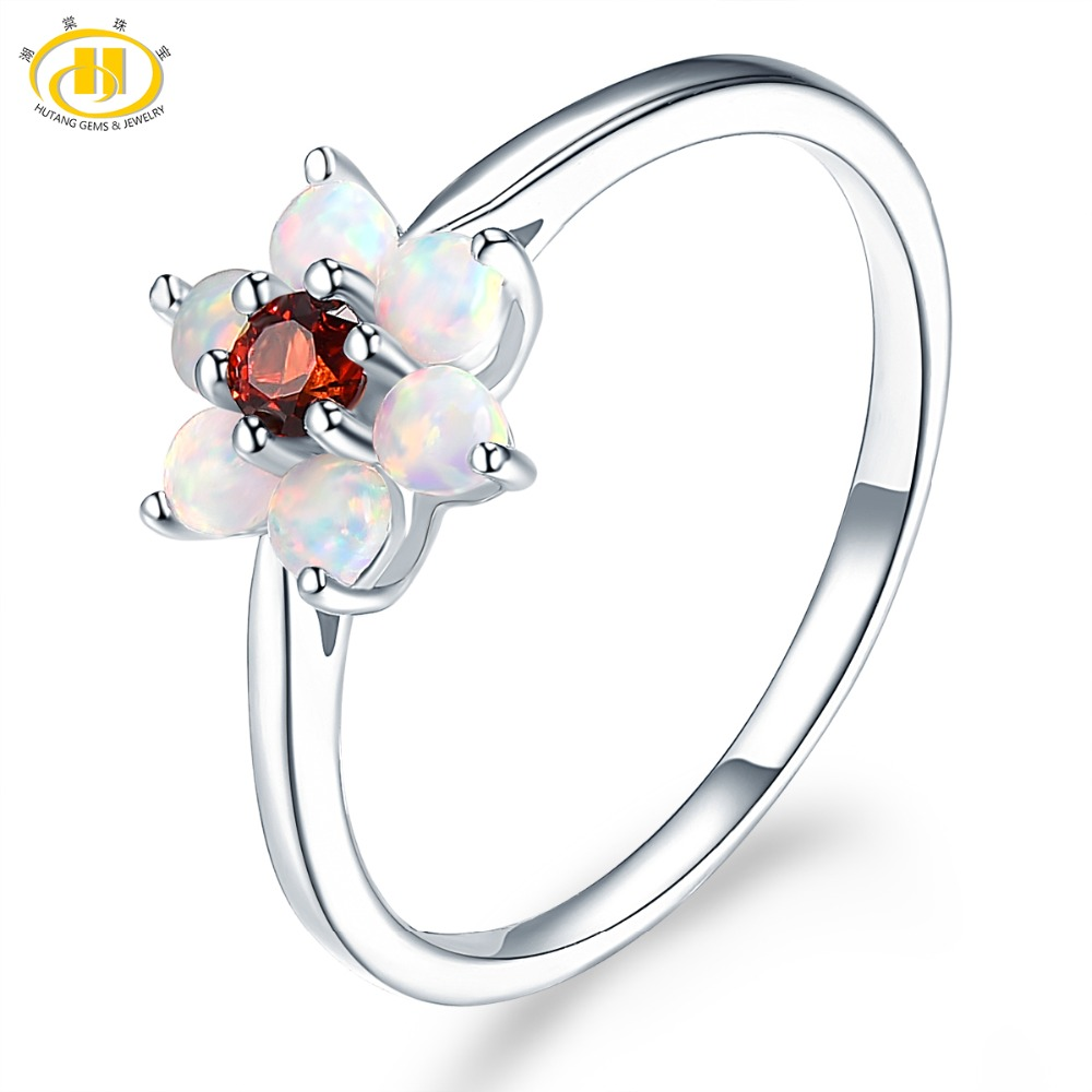 Hutang Gemstone Jewelry Opal Natural Garnet Solid 925 Sterling Silver Ring Engagement Fine Fashion Stone Jewelry For Women Gift