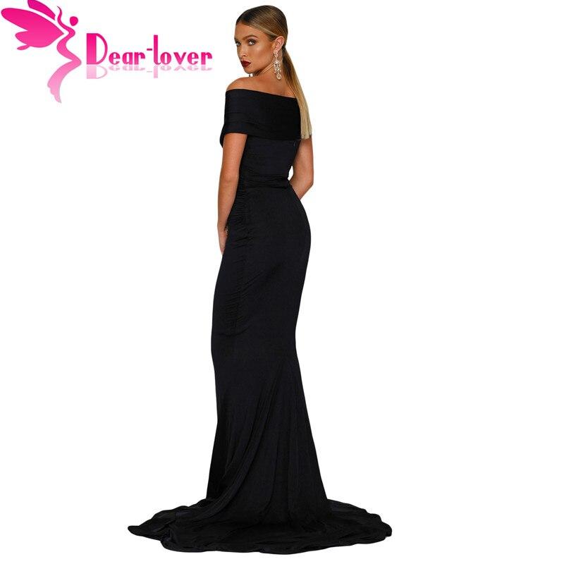 Dear Noiva Party Black Sexy Gowns Dress Mermaid Sleeve red Blue Formal Short Vestido 61566 shoulder Long De white emerald navy Robe lover Off Maxi Soiree Black EUwqrU