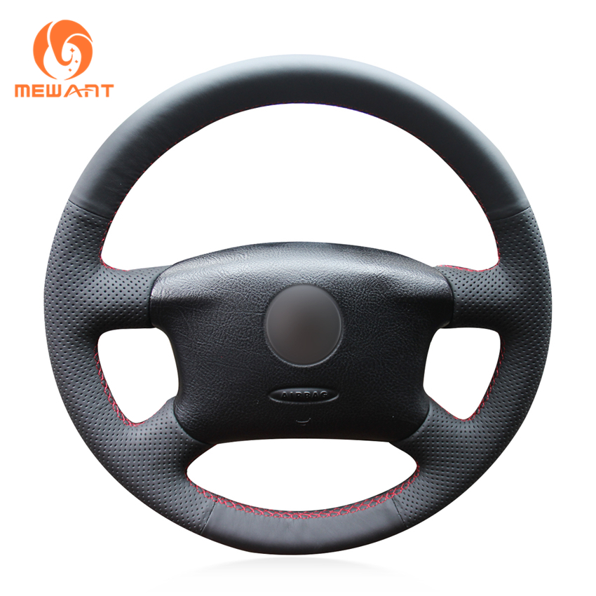 MEWANT Black Artificial Leather Car Steering Wheel Cover for Volkswagen Passat B5 VW Passat B5 VW Golf 4