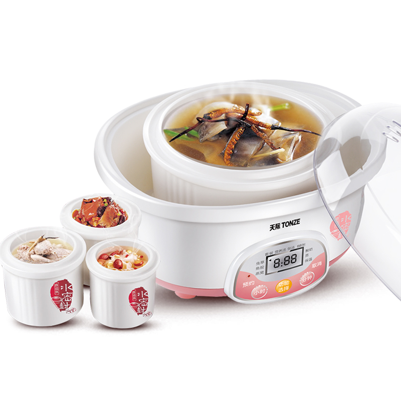 White Porcelain Stew Pot Porridge Soup Automatic Slow Cookers Special for Bird's Nest of Four Liners Electric Stewing Machine dmwd electric kettle eggs slow cooker teapot multifunction porridge stew pot hot water boiler timing milk heater 1 8l 110v 220v