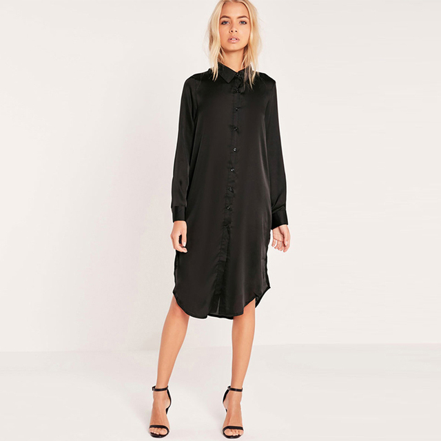 Long Sleeve Turn-down Collar Split Side Straight Embroidery Dress