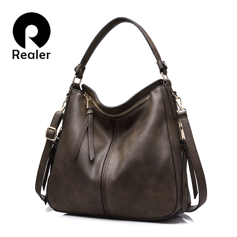 REALER handbags women shoulder crossbody bag female casual large totes high quality artificial leather ladies hobo