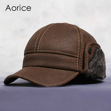 Check Price HL083 Men's Genuine Leather baseball caps hats Russian Winter snow Warm baseball Hat / Cap  with Faux fur inside for old man