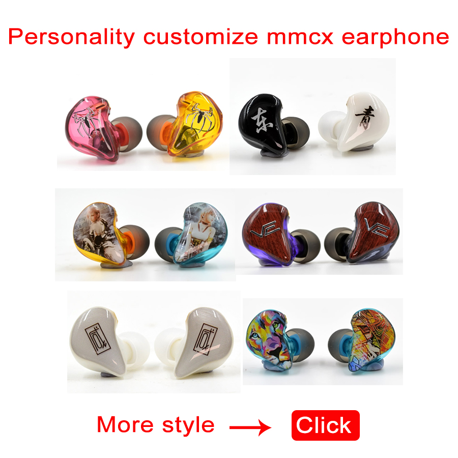 DIY MMCX Earphones Dynamic Balanced Armature In Ear Earphone Hybrid Drive Unit HIFI Monitor Printing Customized