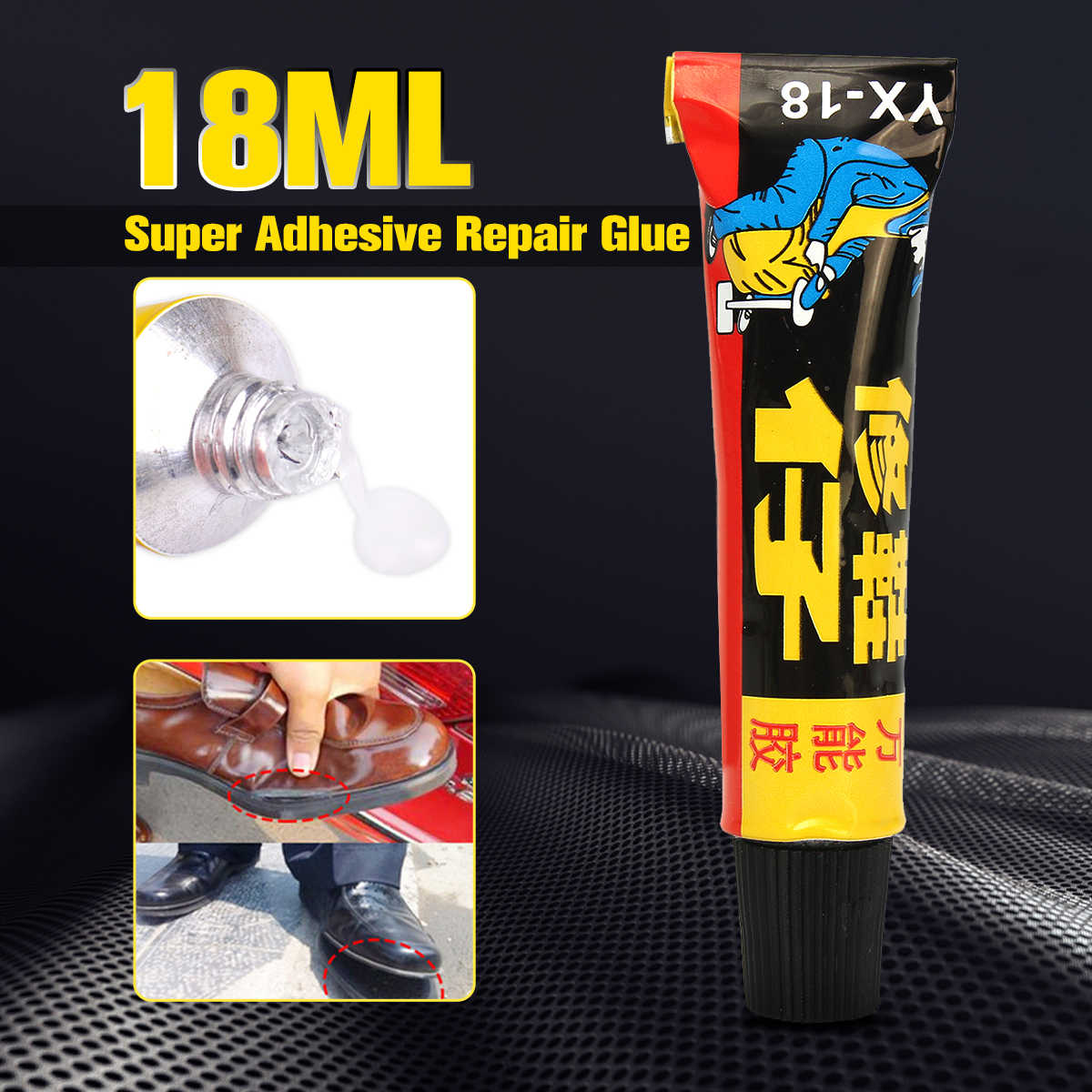 MTGATHER 18ml Super Adhesive Repair Glue For Shoe Leather Rubber Canvas Tube Strong Bond