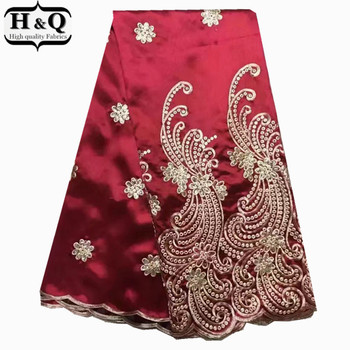 Latest popular designs red George lace fabric embroider with sequins 5yards african george lace fabric,raw silk for women dress