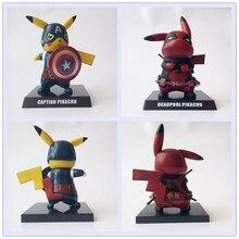 Дэдпул Капитан Америка Пикачу мини ПВХ Рисунок Коллекционная модель игрушки Малый размеры 12,5 см