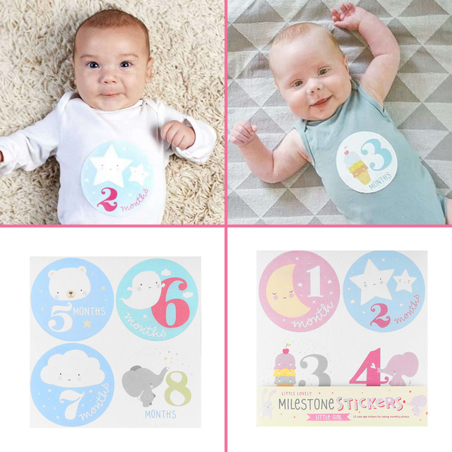 1 set personalized baby girls boys monthly stickers scrapbook photo