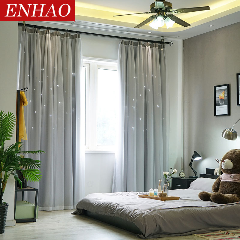 ENHAO Solid Modern Blackout Curtains For Living Room Bedroom Hollow Printed Curtains For Window Blackout Curtains Drapes Blinds