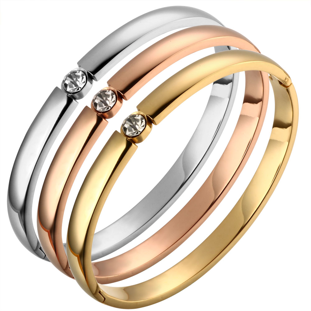 CZ Rose Gold Color Bangles Bracelets for Woman Stainless Steel Cuff Bracelet Wristband Luxury Brand Jewellery Wedding Gift
