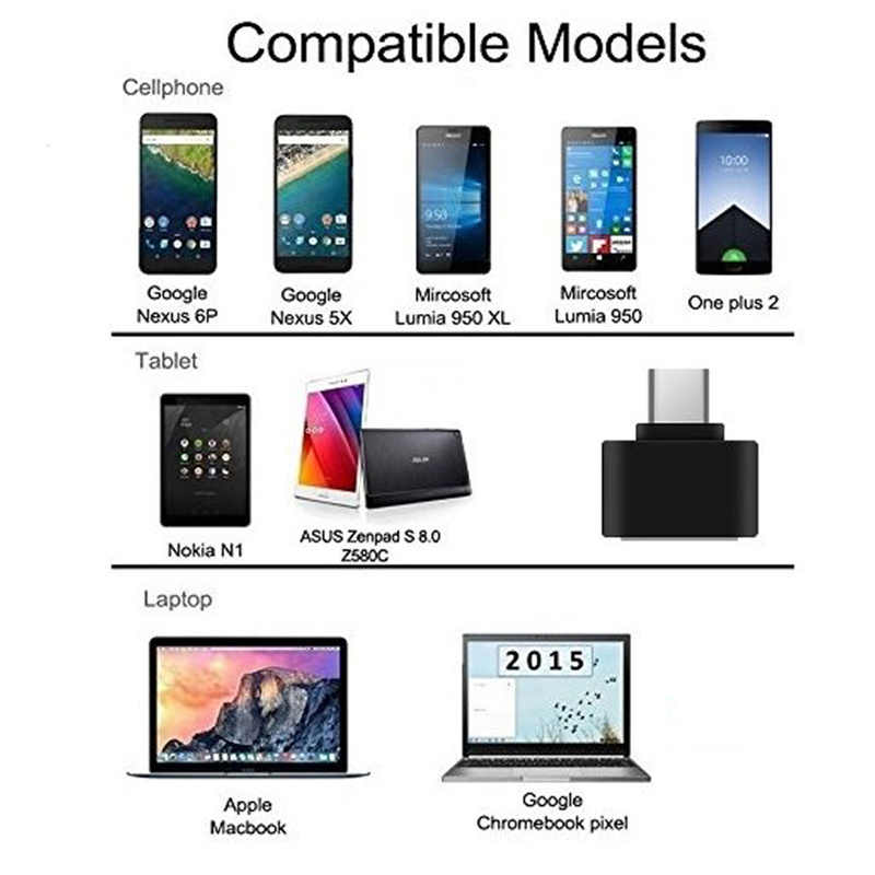 USB Female to USB-C Type C 3.1 OTG Male Data Adapter For Samsung S10 LG G6 G5 V20 OnePlus 7  Huawei P30 P20 Pro mate20
