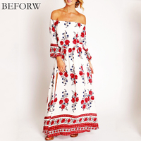 BEFORW Summer Refreshing Beach Vacation Dress Sexy Vintage Word Collar Women Dress Red Print Bohemia Leisure