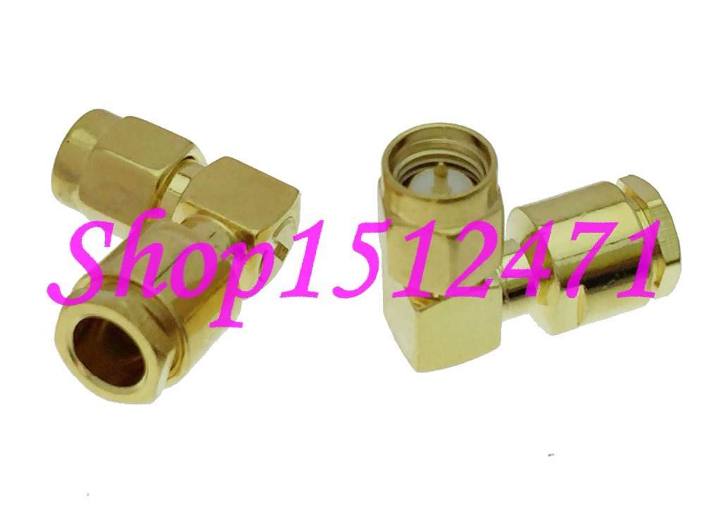 10pcs Connector SMA male plug clamp RG58 RG142 LMR195 RG400 cable Right angle