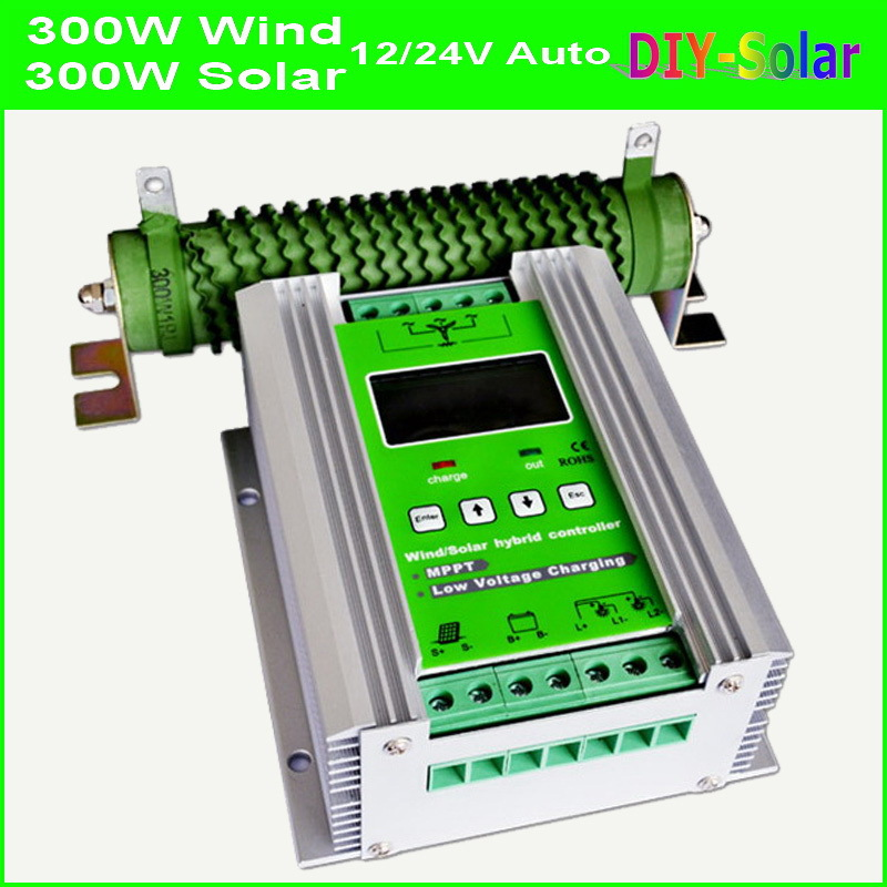 600W MPPT Wind Solar Hybrid Controller 12V 24V, 300W Wind Turbine+300W Solar Hybrid Charge Controller 12V 24V 600W solar system
