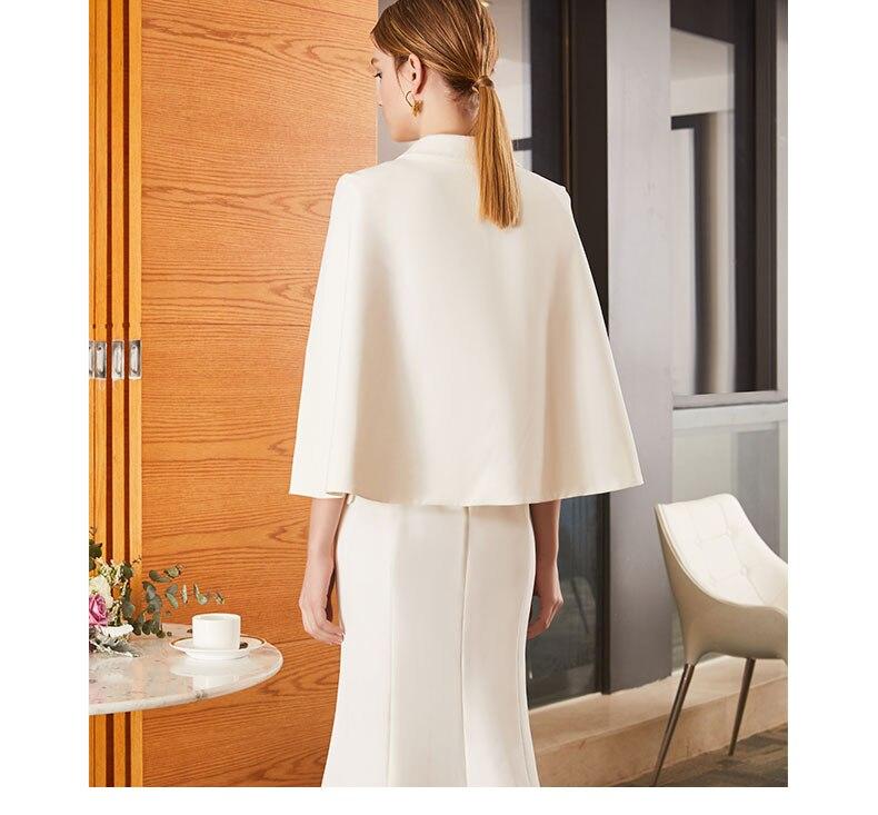 White Manches Femmes Manteau Blanc Breasted Cheville Robe longueur À Col 2018 Lady Office Double Cranté C029 Ressort qw7IvaxFf