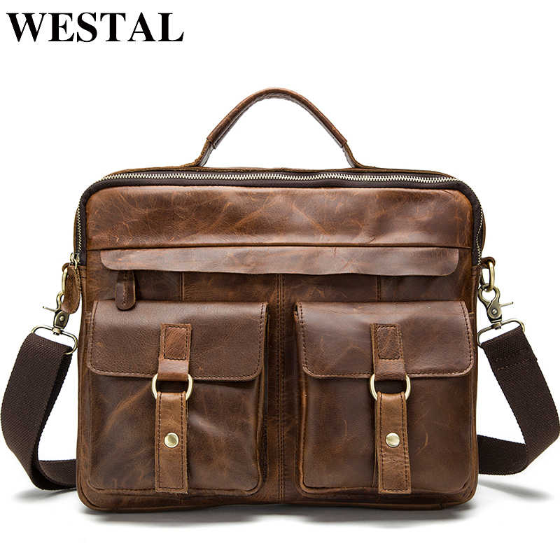 WESTAL Men's Briefcases office Bags for Men's Bag Genuine Leather Messenger Laptop Bag Leather Business Briefcase porte document