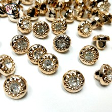 HL 50PCS/lot  6mm/10mm New Plating Buttons With Rhinestones Shank DIY Apparel Sewing Accessories Shirt