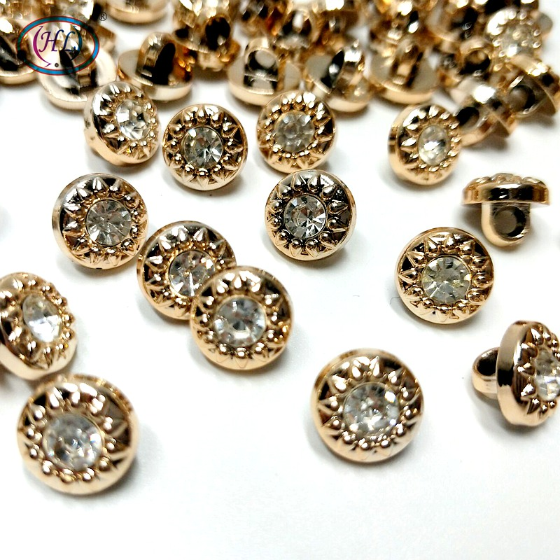 HL 50PCS/lot 6mm/<font><b>10mm</b></font> New Plating <font><b>Buttons</b></font> With Rhinestones Shank DIY Apparel Sewing Accessories Shirt image