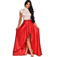 Floral Lace Two Piece Prom Ball Dress Women Turtleneck Sheer Floor Length Asymmetrical Evening Gown Special Occasion Dresses