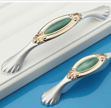 C C 128mm 5 04 Length 155mm 6 10 Jade green luxury furniture handle crystal drawer