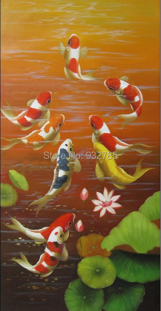 feng shui paintings for office. Free Shipping,Koi Fish Feng Shui Lotus Fancy Carp,hand Painted Modern Oil Painting Paintings For Office