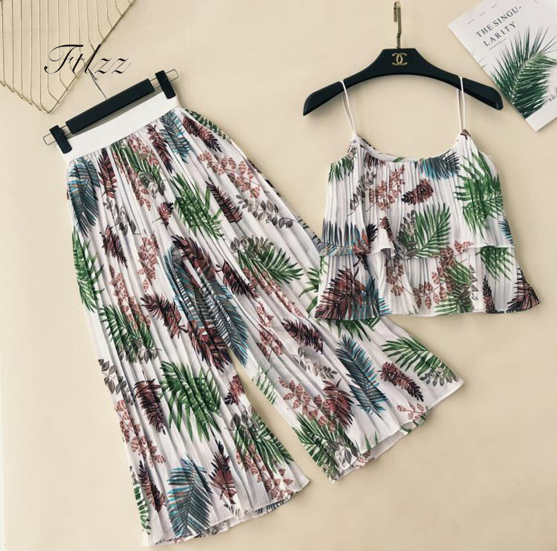 New Summer Bohemian Two Piece Sets Women Sexy Crop Top And Loose Pants Suits Woman Casual Floral Print Beach Chifon 2 Pcs Set