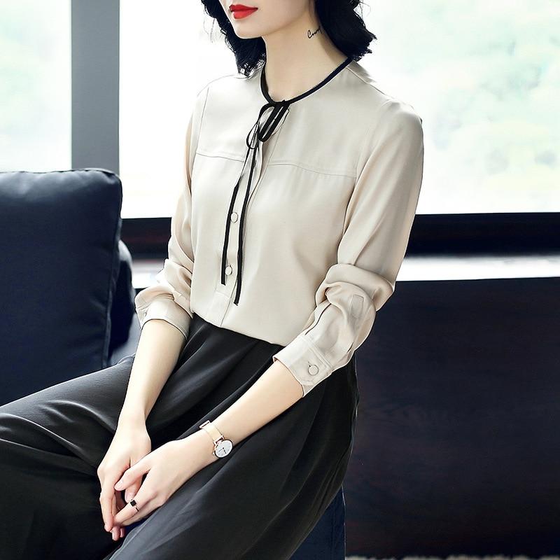 Soie 2019 Femmes Blouse Bureau Feminina Yq154 Manches Chemisiers Mode D'été Chemises Camisa 100 À Printemps Longues Haut Apricot Travail De wInBqxF
