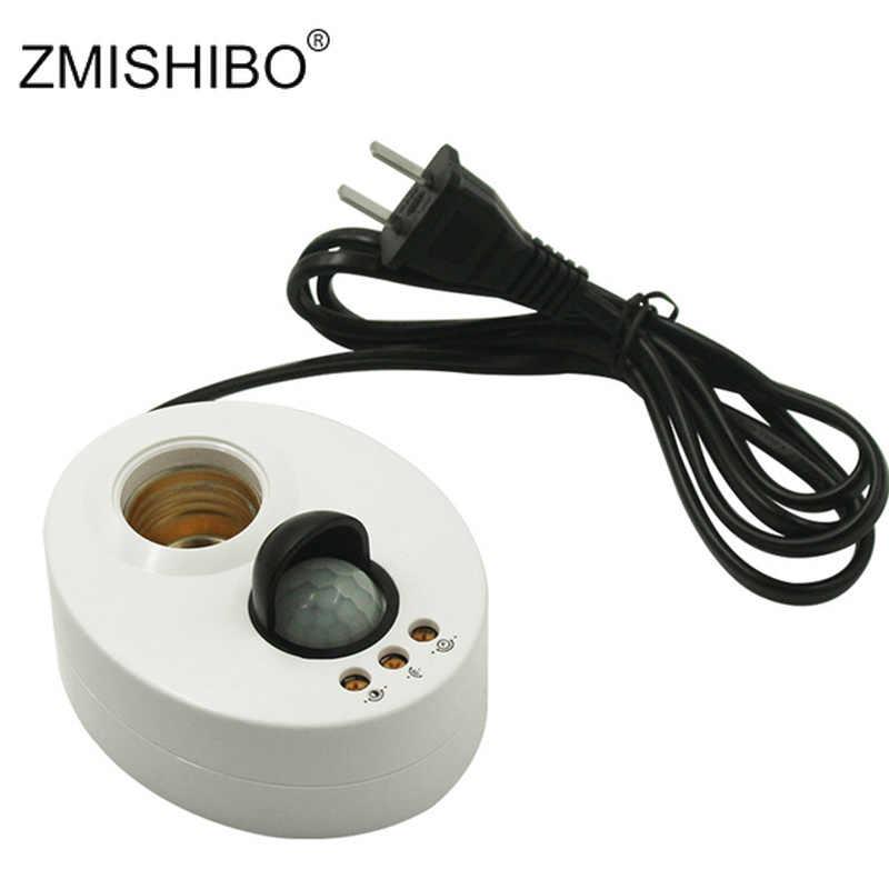 ZMISHIBO E27 kinkiet indukcyjna ludzkie ciało na podczerwień czujnik IR AC110-240V z wtyczką US ue drut 1.3M podstawy lampy regulowany czas