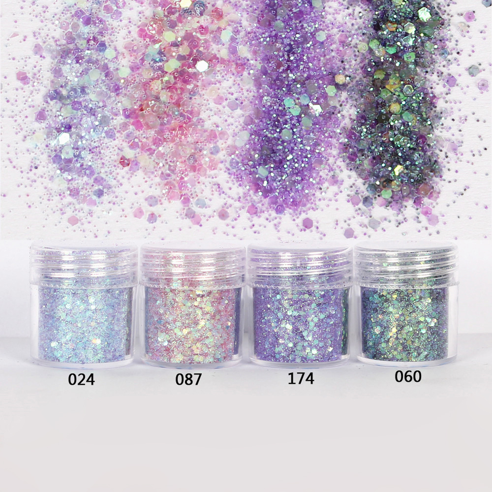 Glitter-Powder Nail-Art-Decoration Pink Purple Colorful 10ml For 4-60 1-Jar/Box Mix
