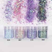Glitter-Powder Nail Purple Nail-Art-Decoration Colorful Pink 10ml for 4-60 1-Jar/Box