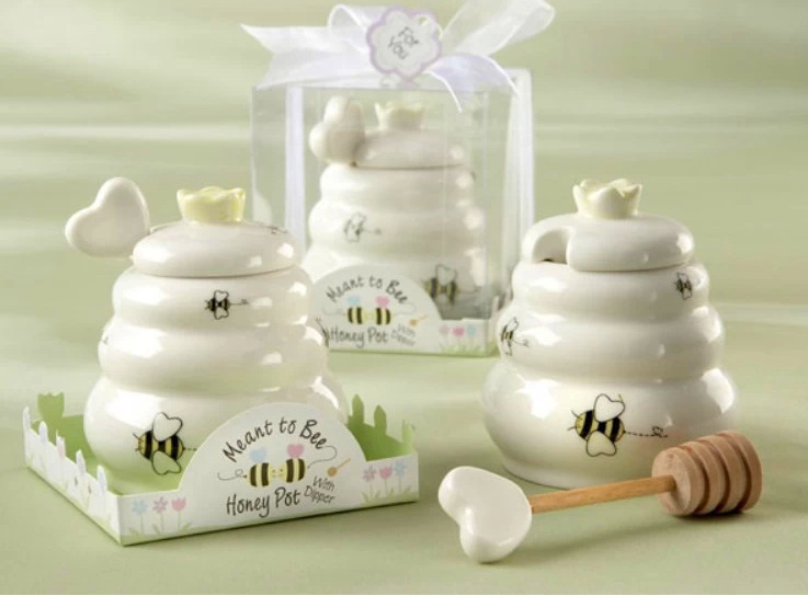 Free Shipping 50 pcs Ceramic Meant to Bee Honey Jar Honey Pot Wedding Party Favors and