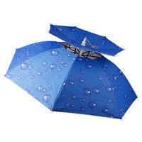 Fishing Umbrella Cap Headband Umbrella Cap Sunscreen Non handle Head Umbrellas Gift Sombrillas Home Fish Gear Rain WZP072
