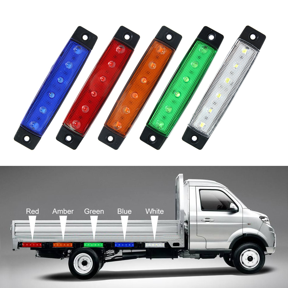 6 LED Truck Side Marker Indicator Light Turn Signal Lamp 12V/24V Auto Car Bus Lorry UTE Trailer Tail Warning Lamp Brake Lights