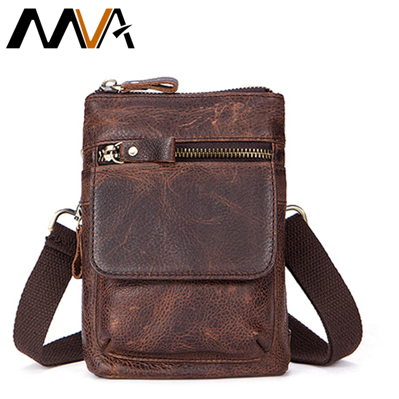MVA Messenger Bag Men Leather Shoulder Bags Small Travel Money Belt Wasit Pack Genuine Leather Men Bag Vintage Crossbody Bags augur fashion men s shoulder bag canvas leather belt vintage military male small messenger bag casual travel crossbody bags