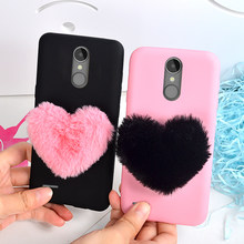 Phone Case for LG K8 2018 Cases for LG K4 K8 K10 2017 G6 G7 Q6 Q8 Aristo 2 V30 Back Cover Cute Furry Love Hearts Shell Girls(China)